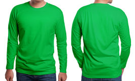 Green Long Sleeved Shirt Design Template Stock Photos