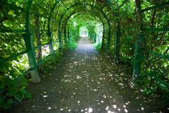 Green long tunnel royalty free stock images