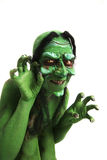 Green looking witch like creature Royalty Free Stock Image