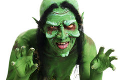 Green looking witch like creatures face Stock Photos