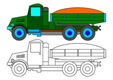 Green lorry as coloring book for kids - illustration. Historical green truck with a load of sand as a coloring book for kids - illustration Stock Image