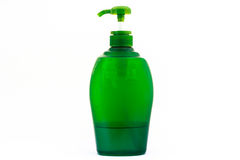 Green lotion bottle isolated Stock Photo