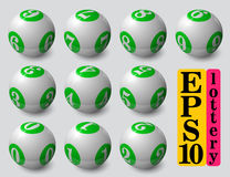Green lottery balls set. With soft shadow and reflection stock illustration