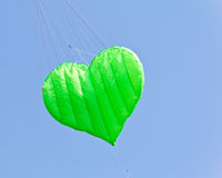 Green love heart kite Stock Photos
