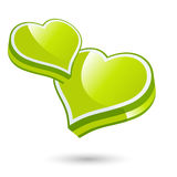 Green love hearts. 3d illustration of two green love hearts isolated on white background Stock Photos