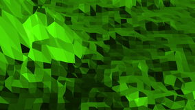 Green low poly background pulsating. Abstract low poly surface as futuristic relief in stylish low poly design stock footage