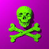 Green low poly skull illustration. 3d Low-poly mesh green skull illustration on colorful background Stock Photos