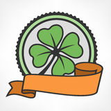 Green lucky four leaf Irish clover vintage Stock Images