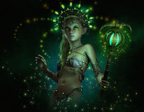 Green Lumi, little fairy Stock Images