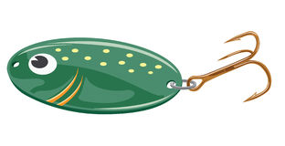 Green lure. Green fishing lure on transparent background Stock Images