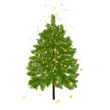 Green lush fir, decorated with gold confetti. Fir branches.  on white illustration Stock Photo