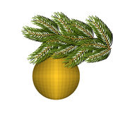 Green lush spruce and gold ball ornament for Christmas and new year Stock Photo