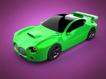 Green luxury brandless sport car on pink background Stock Photography
