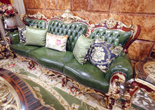 Green luxury leather sofa Stock Images