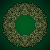 Green luxury pattern with gold leaves frame Royalty Free Stock Images