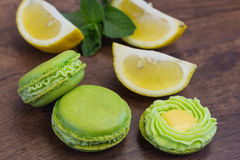 Green macarons with mint cream and lcemon curd Royalty Free Stock Image