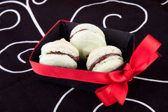 Green macaroons in black box Royalty Free Stock Photo