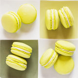 Green macaroons on a square plate. Top view Stock Images