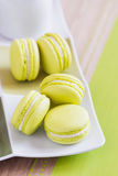 Green macaroons on a square plate. Top view Royalty Free Stock Photo
