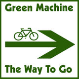 Green machine. Green bike and arrow on white background illustration Royalty Free Stock Images