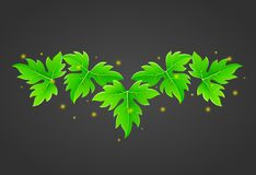 Magic leaves with fireflies on dark background royalty free illustration