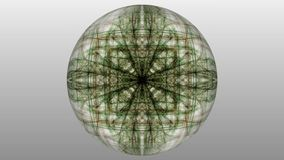 Green magic light fractal patterns on white background. Live mandala for spiritual exersises.