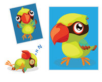 Green Magpie. A Cute Green Magpie with 3 Action Vector Illustration