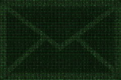 Green mail abstract with the background of binary code Stock Photos
