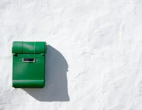 Green Mail Box on White Wall Royalty Free Stock Images