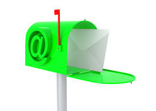 Green mail box with letter. Stock Image