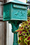 Green mail box. With pattern and decoration, shown as method of communication, receiving, information transfer, or living environment Royalty Free Stock Images