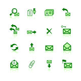 Green mail icons. On the white background Royalty Free Stock Images