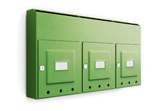 Green mailbox in an apartment building  on white backgro Stock Images