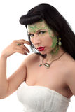Green make-up girl art nouveau ring and necklace Royalty Free Stock Photography