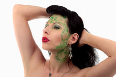 Green make-up girl Royalty Free Stock Photos