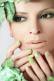 Green makeup and nail Polish. Stock Photography