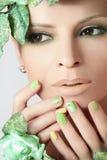 Green makeup and nail Polish. Stock Photography