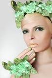 Green makeup and nail Polish. stock photos