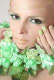 Green makeup and nail Polish. royalty free stock image