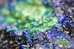 Green Malachite and Azurite Crystals deep blue copper mineral  Stock Photo