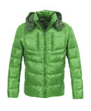 Green male winter jacket. Isolated on white background Royalty Free Stock Photo