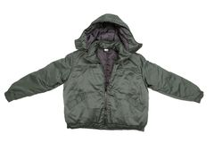Green male working jacket with hood. Royalty Free Stock Image