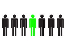 Green man. A green silhouette people between black figures Stock Photography