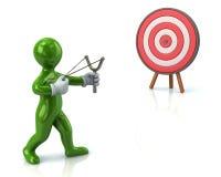 Green man aiming slingshot at target. 3d illustration of green man aiming slingshot at target Stock Photo