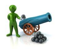 Green man and artillery gun. Illustration of green man and artillery gun Stock Images