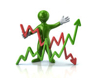 Green man and business graph. Green man presenting business graph 3d illustration on white background Stock Images