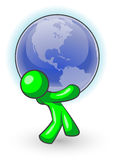Green man carrying globe. Cartoon of a green man carrying the globe Stock Image