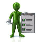 Green man and check list Royalty Free Stock Photos