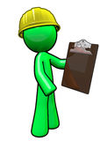 Green man contractor with hard hat Royalty Free Stock Photo