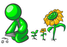 Green man gardener. Cartoon of a green man planting seeds of sunflowers Stock Photos